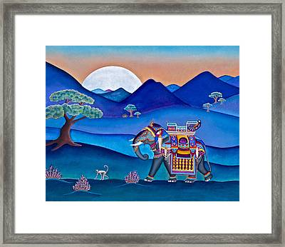 Elephant And Monkey Stroll Framed Print
