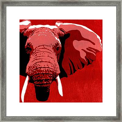 Elephant Animal Decorative Red Wall Poster 11   - By Diana Van Framed Print