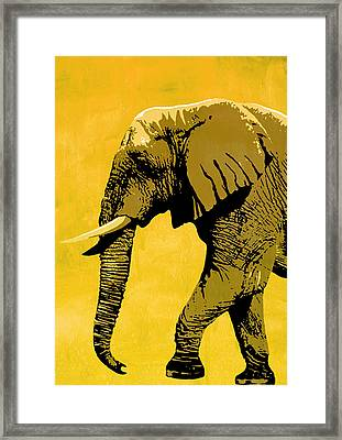 Elephant Animal Decorative Red Wall Poster 18 - By Nostalgic Art Framed Print by Diana Van