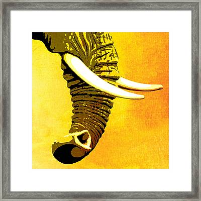 Elephant Animal Decorative Yellow Wall Poster 7 Framed Print