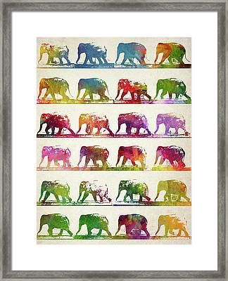 Elephant Animal Locomotion  Framed Print by Aged Pixel