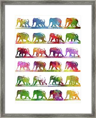 Elephant Animal Locomotion - White Framed Print by Aged Pixel