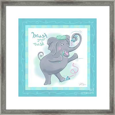 Elephant Bath Time Brush Your Tusk Framed Print by Shari Warren