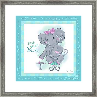 Elephant Bath Time Look Your Best Framed Print by Shari Warren