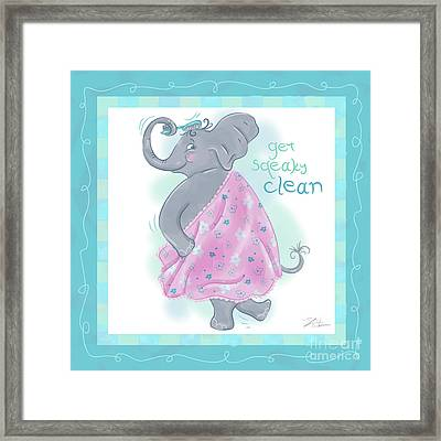 Elephant Bath Time Squeaky Clean Framed Print