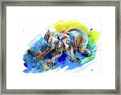 Framed Print featuring the painting Elephant Calf Playing With Butterfly by Zaira Dzhaubaeva