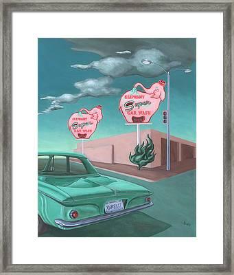 Elephant Car Wash Framed Print by Sally Banfill