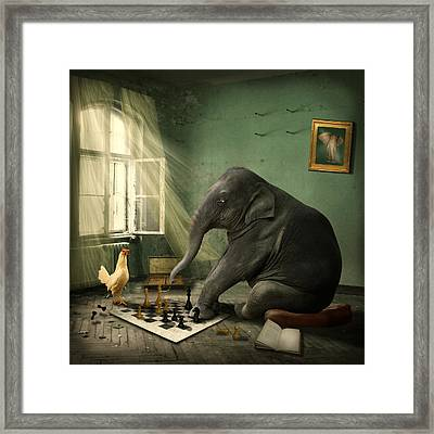 Elephant Chess Framed Print