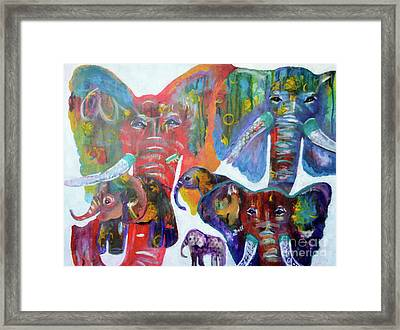 Framed Print featuring the painting Elephant Family by Claire Bull