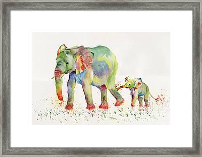 Elephant Family Watercolor  Framed Print