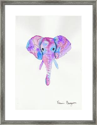 Elephant Head In Watercolour  Framed Print