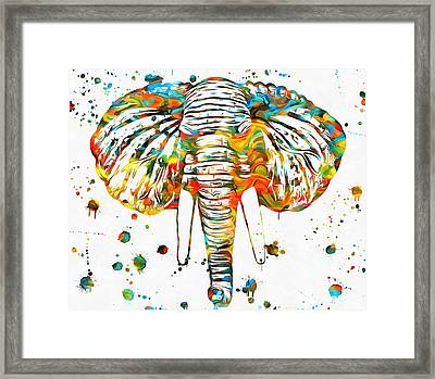 Elephant Head Paint Splatter Framed Print by Dan Sproul