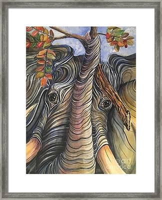 Elephant Holding A Tree Branch Framed Print