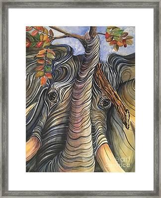 Elephant Holding A Tree Branch Framed Print