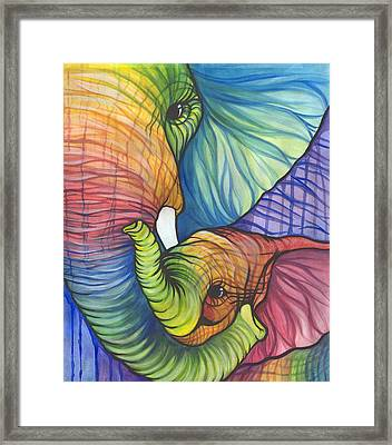 Elephant Hug Framed Print by Sarah Jane