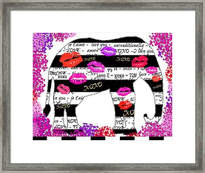 Elephant Hugs And Kisses Framed Print by WALL ART and HOME DECOR