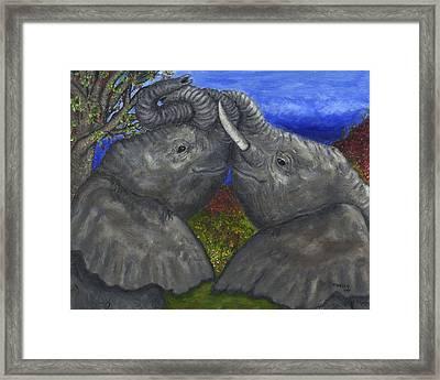 Elephant Hugs Framed Print by Tanna Lee M Wells