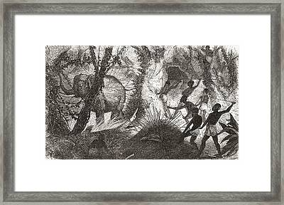 Elephant Hunting In Africa Framed Print