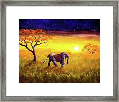 Elephant In Purple Twilight Framed Print by Laura Iverson