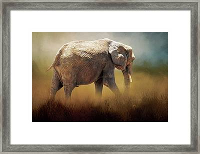 Framed Print featuring the photograph Elephant In The Mist by David and Carol Kelly