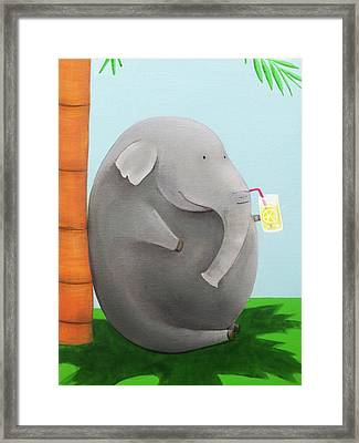 Elephant In The Shade Framed Print by Lael Borduin