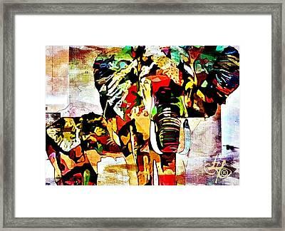 Elephant Love Framed Print by Lynda Payton