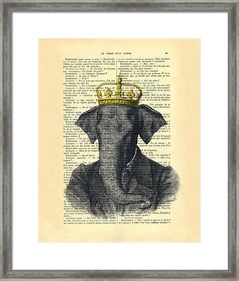 Elephant With Crown Nursery Decor Framed Print by Madame Memento
