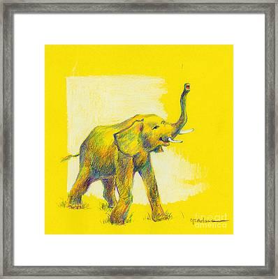 Elephant On Gold Framed Print by Cheryl Emerson Adams