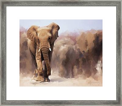 Elephant Painting Framed Print by Michael Greenaway