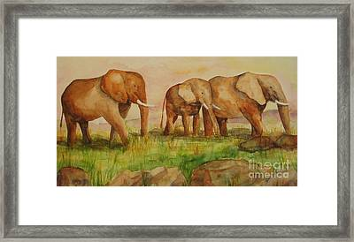 Framed Print featuring the painting Elephant Parade by Vicki  Housel