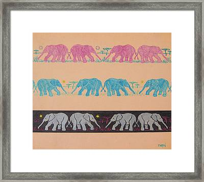 Elephant Pattern Framed Print by John Keaton