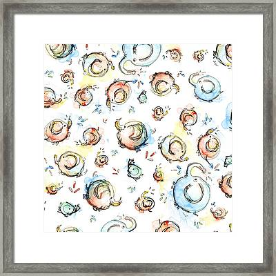Elephant Pattern Watercolor Framed Print