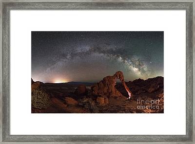 Elephant Rock Milky Way Panorama Framed Print by Michael Ver Sprill
