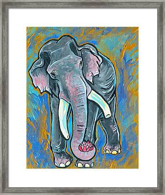 Framed Print featuring the painting Elephant Spirit Dreams by Jenn Cunningham