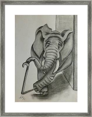 Framed Print featuring the drawing Elephant Still Waiting by Kelly Mills