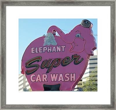 Elephant Super Car Wash Framed Print by Randall Weidner
