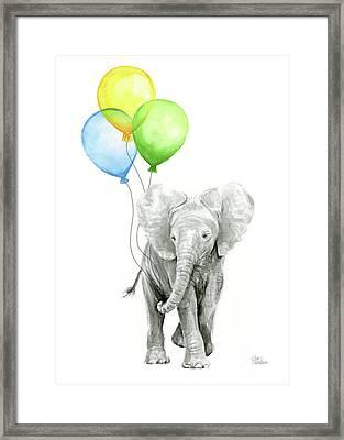 Elephant Watercolor Baby Animal Nursery Art Framed Print
