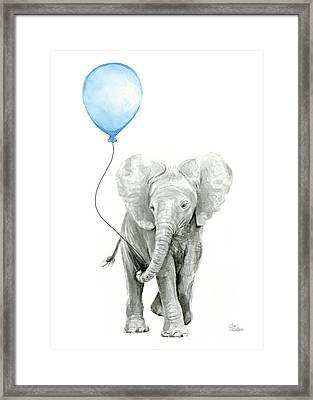 Elephant Watercolor Blue Nursery Art Framed Print