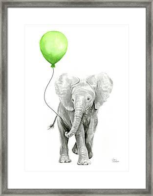 Elephant Watercolor Green Balloon Kids Room Art  Framed Print