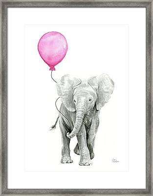 Elephant Watercolor With Pink Balloon Framed Print by Olga Shvartsur