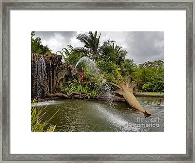 Elephant Waterfall Framed Print