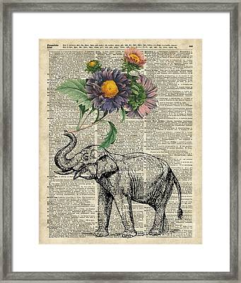 Elephant With Flowers Framed Print