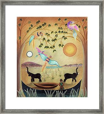 Elephants And Birds Framed Print by Sally Appleby