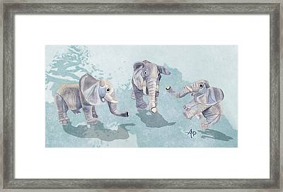 Elephants In Blue Framed Print by Angeles M Pomata