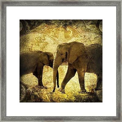 Elephants Roam The Earth Vintage Grunge Framed Print by Georgiana Romanovna