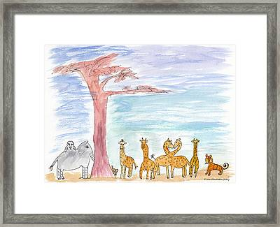 Elephoot By Baobab Tree Framed Print