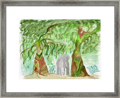 Elephoot Under The Banyans Framed Print