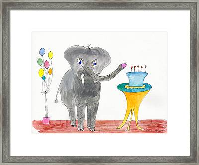 Elephoot's Birthday Greeting Framed Print