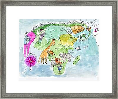 Elephoot's Map Of Africa Framed Print