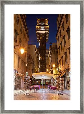 Elevador De Santa Justa In Lisbon By Night Framed Print
